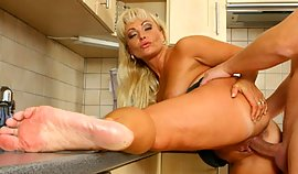 Peek at this matured lassie getting her wet crack used in the kitchen